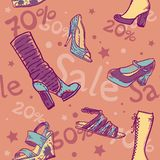 Sale discount shoes seamless texture Stock Image