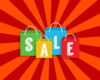 Sale discount with shopping bags. Vector Stock Photos