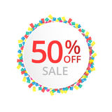 50% sale discount sign with colour confetti. Stock Photos
