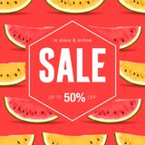 Sale, discount, social media template for online store, watermelon slice pattern background, vector illustration. Royalty Free Stock Images