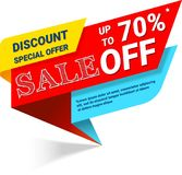 Sale, this discount special offer banner, up to 70 off. Vector illustration EPS 10 royalty free illustration