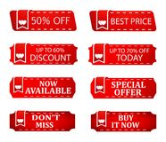 Sale discount specials banner price tags, store offer, hot icon for seasonal sales. Sale discount specials banner price tag, save percent coupon icon, store Royalty Free Stock Image