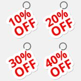 Sale discount stickers icons. Special offer price signs. 10, 20, 30 and 40 percent off reduction symbols Stock Images