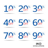 Sale and discount tag set. Price off badge design template. 10,20,30,40,50,60,70,80,90 percent sale. Stock Images