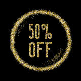 Sale 50 discount type on Golden glitter sparkles background. Black template for banner, card, poster, flyer, web, header. Vector gold glittering illustration Stock Photos