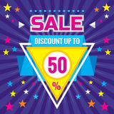 Sale - Discount up to 50% - abstract vector banner concept illustration. Sale abstract layout. Sale triangle badge. Royalty Free Stock Image