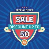 Sale - discount up to 50% - abstract vector template concept illustration. Special offer layout badge. Design element.  Royalty Free Stock Images