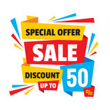 Sale discount up to 50% - concept banner vector illustration. Abstract advertising creative layout. Graphic design elements Royalty Free Stock Photos