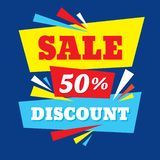 Sale discount up to 50% - concept banner vector illustration. Abstract advertising creative layout. Graphic design elements. royalty free illustration