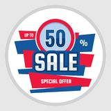 Sale discount up to 50% - concept banner vector illustration. Special offer abstract circle badge. Promotion layout. Graphic design element royalty free illustration