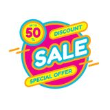 Sale discount up to 50% - concept banner vector illustration. Special offer abstract circle layout. Graphic design sticker. vector illustration
