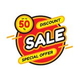 Sale discount up to 50% - concept banner vector illustration. Special offer abstract circle layout. Graphic design sticker. stock illustration