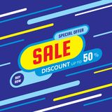 Sale discount up to 50% -concept banner vector illustration. Special offer abstract creative layout. Buy now. Graphic design. Sale discount up to 50% -concept stock illustration