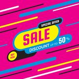 Sale discount up to 50% -concept banner vector illustration. Special offer abstract creative layout. Buy now. Graphic design. Sale discount up to 50% -concept royalty free illustration