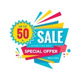 Sale discount up to 50% - concept banner vector illustration. Special offer abstract layout in origami style on white background. Graphic design sticker royalty free illustration