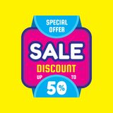 Sale discount up to 50 % - concept banner vector illustration. Special offer creative layout. Graphic design element Royalty Free Stock Photo