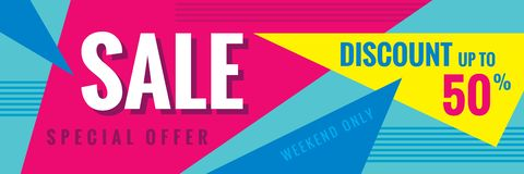 Sale discount up to 50% - concept horizontal banner vector illustration. Special offer abstract layout. Weekend only. Graphic. Design poster vector illustration