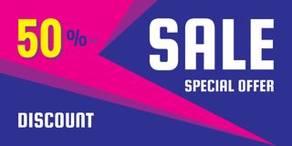 Sale discount up to 50% - concept horizontal banner vector illustration. Special offer abstract promotion layout. Graphic design. Element royalty free illustration