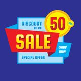 Sale - discount up to 50% concept vector banner. Special offer creative geometric promotion poster. Shop now. Abstract composition. Graphic design element stock illustration