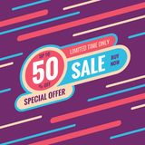 Sale discount up to 50% off - concept banner vector illustration. Special offer abstract layout. Buy now. Graphic design poster. Royalty Free Illustration