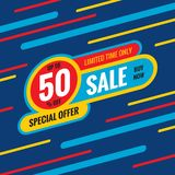 Sale discount up to 50% off - concept banner vector illustration. Special offer abstract layout. Buy now. Graphic design poster. stock illustration