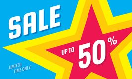 Sale discount up to 50% off - concept horizontal banner vector illustration. Limited time only abstract layout with star shape. Graphic design poster vector illustration