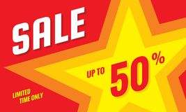 Sale discount up to 50% off - concept horizontal banner vector illustration. Limited time only abstract layout with star shape. Graphic design poster Stock Illustration