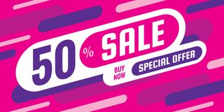 Sale discount up to 50% off - concept horizontal banner vector illustration. Special offer abstract layout. Graphic design poster. stock illustration