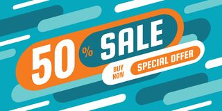 Sale discount up to 50% off - concept horizontal banner vector illustration. Special offer abstract layout. Graphic design poster. vector illustration