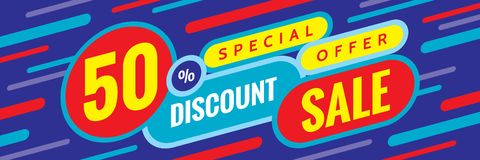 Sale discount up to 50% off - concept horizontal banner vector illustration. Special offer abstract layout. Graphic design poster. Royalty Free Illustration