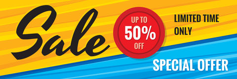 Sale discount up to 50% off - creative horizontal banner vector illustration. Special offer abstract advertising promotion concept. Layout. Graphic design Royalty Free Stock Photos
