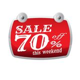 Sale discount up to 70 percent off red. banner. Businesson. mark. Eting. on white background vector illustration
