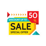 Sale - discount up to 50% - special offer - abstract promotion vector banner. Concept layout. Design element for advertising print. Poster or flyer stock illustration