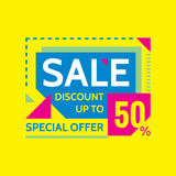 Sale - discount up to 50% - special offer - abstract promotion vector banner. Concept layout. Design element for advertising print Royalty Free Stock Photo