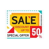 Sale - discount up to 50% - special offer - abstract promotion vector banner. Sale discount concept layout. Design element. Stock Photo