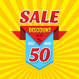 Sale discount up to 50% - vector banner concept illustration. Just now! Abstract advertising promotion creative badge layout. Royalty Free Stock Photo