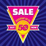 Sale discount up to 50% vector banner concept illustration. Triangle badge with ribbon. Sticker layout Stock Photo
