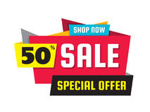 Sale discount up to 50% - vector concept illustration. Special offer origami creative badge on white background. Advertising promotion banner. Abstract graphic Royalty Free Stock Images