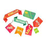 Sale and Discount Vector Illustration Set Royalty Free Stock Photos