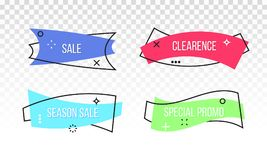 Sale discount vector promo banner tag ribbon vector illustration