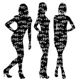 Sale discount women silhouettes. On white background Royalty Free Stock Images
