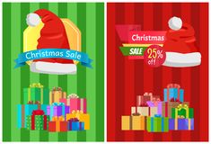 Sale Discount Xmas Hot Prices Labels Piles Gifts. Sale discount Christmas hot prices labels piles of gift boxes on striped backgrounds vector illustration Stock Images