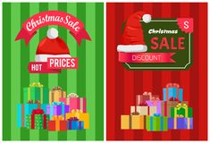 Sale Discount Xmas Hot Prices Labels Piles Gifts. Sale discount Christmas hot prices labels piles of gift boxes on striped backgrounds vector illustration Stock Photos