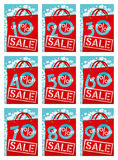 Sale discounts. On a red package Royalty Free Stock Photos