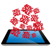 Sale Discounts 3D on computer tablet pc Stock Photography