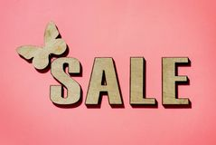 Sale and discounts, butterfly sitting royalty free stock photos