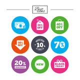 Sale discounts icon. Shopping, deal signs. Royalty Free Stock Images