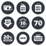 Sale discounts icon. Shopping, deal signs Stock Images