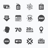 Sale discounts icon. Shopping, deal signs. Calendar, go to web and like counter. Sale discounts icon. Shopping, black friday and cash money signs. 10, 20, 50 stock illustration