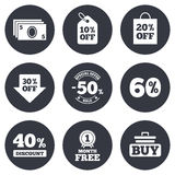 Sale discounts icon. Shopping, deal signs. Sale discounts icon. Shopping cart, buying and cash money signs. 40, 50 and 60 percent off. Special offer symbols Royalty Free Illustration